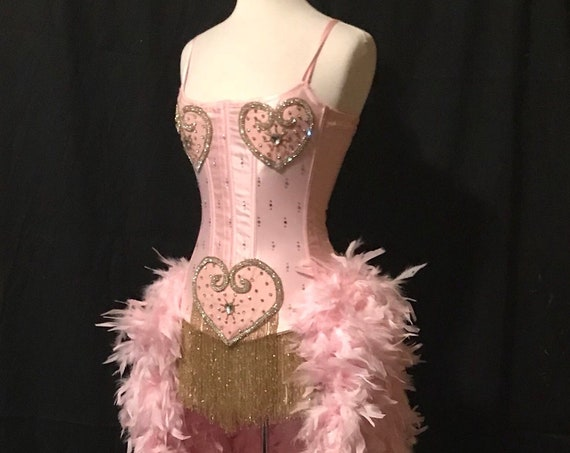 Pick Size XS-3X-Sateen Inspired Pink Showgirl Saloon Girl Moulin Burlesque Costume w/Feather Train