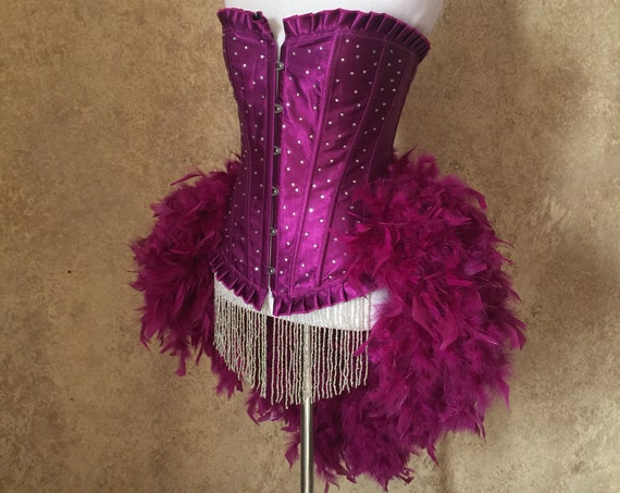 Pick Size-Purple Scattered Crystal Pin Up Showgirl Saloon Girl Can Can Moulin Burlesque Costume w/Feather Train
