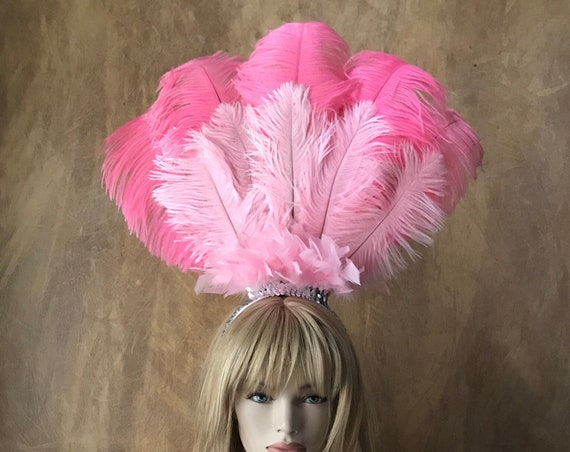 Pick Colors- 2 Layer Ostrich Feather Headdress Headband Hair Accessory Saloon Circus Showgirl Burlesque Costume