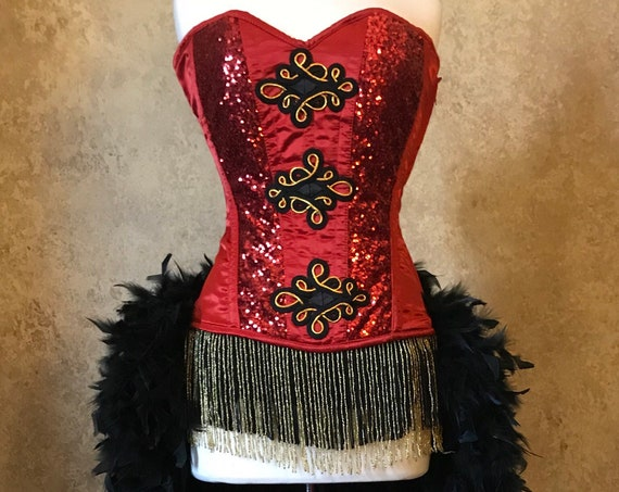 2pc Authentic Corset size 26 Sequin Pin Up Ringmaster Circus Burlesque Costume Feather