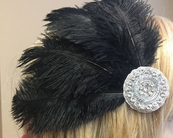 Custom Made Rhinestone Ostrich Feather Headdress Fascinator Hair Clip with Flowers & Crystal Rhinestones