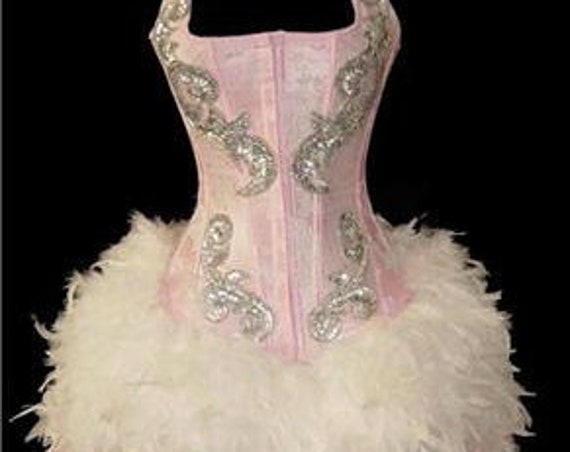 Pink Sequin Full Skirt Feather Moulin Burlesque Theater Costume