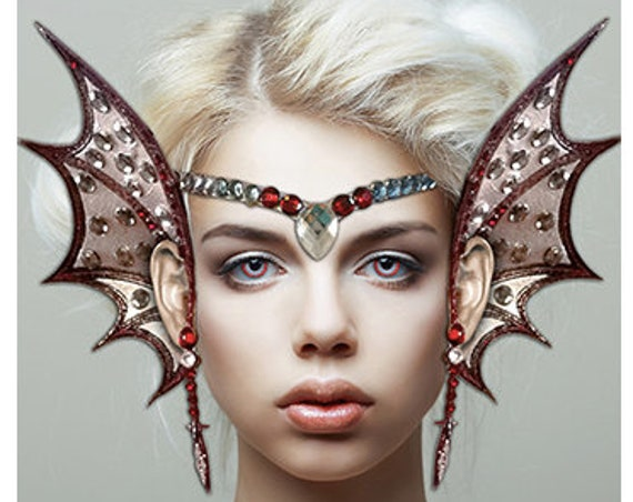Xotic Eyes Demonic Ear Wings Wing & Tiara Fairy Costume Glitter Crystal Tattoo