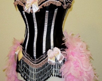 Pick Size-Pink & Black Victorian Lace  Burlesque Carnival Feather Costume