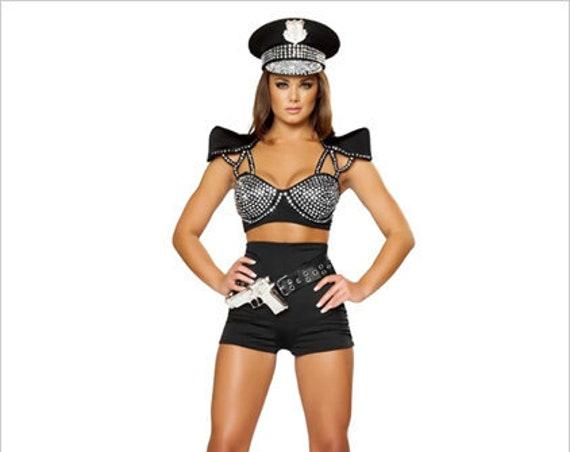 2 Pc Seductive Cop Rhinestone Pin Up Police Costume-Bra & Shorts Set-Roma 4396