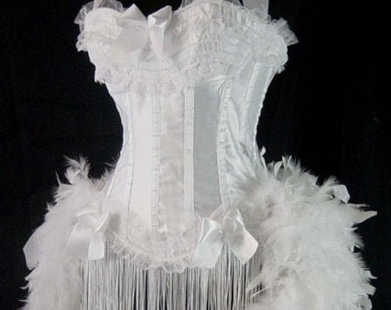 Pick Size-White Victorian Lace Moulin Burlesque Carnival Circus Costume Feather