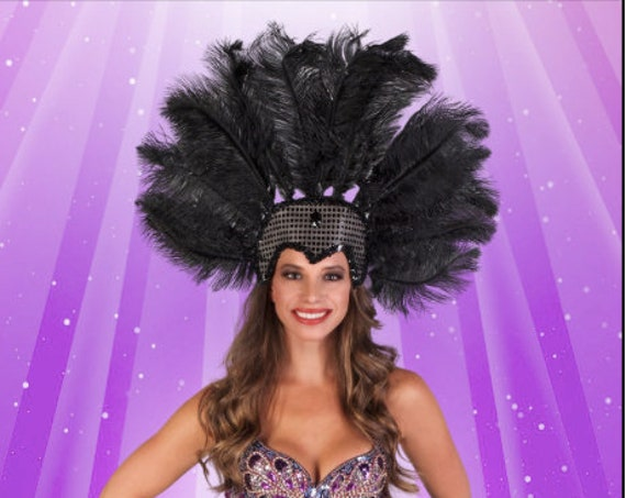 Large Showgirl Ostrich Feather Sequin Headdress-Red, Black, White, Royal Blue, Brown, Orange, Yellow