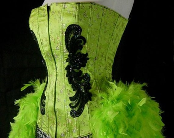 S-Green Moulin Showgirl Cabaret Pin Up Burlesque Feather Costume Circus Carnival
