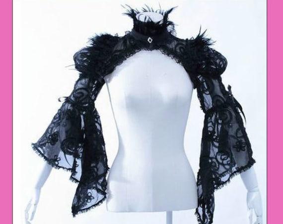 Gothic Victorian Black Feather & Lace Mesh Shoulder Shrug Jacket Shawl-21080