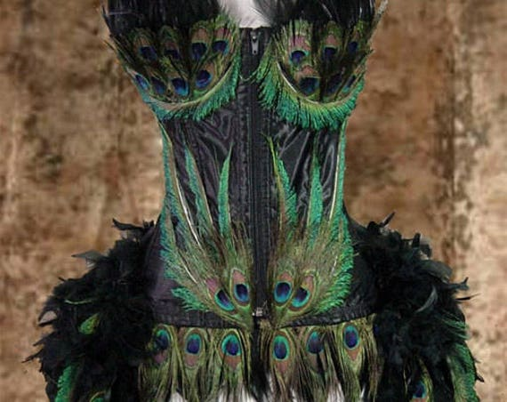 Black Custom Peacock Showgirl Saloon Girl Moulin Burlesque Costume w/Feather Train