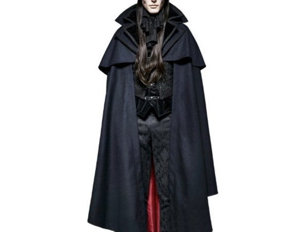 S-XL Mens Vampire Cape-Black/Red Y709