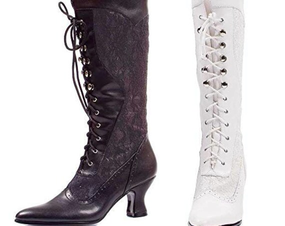 BLACK-Ellie Shoes 253-Rebecca Victorian Lace Faux Leather Mid Calf Boots Booties-Western Witch