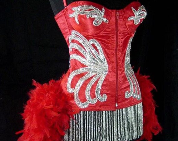 Pick Size-Red & Silver Showgirl Can Can Pin Up Carnival Costume w/Feather Train Mardi Gras