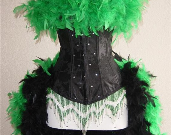 Pick Size & Color- Crystal Feather Brocade Showgirl Saloon Girl Moulin Burlesque Costume w/Feather Train