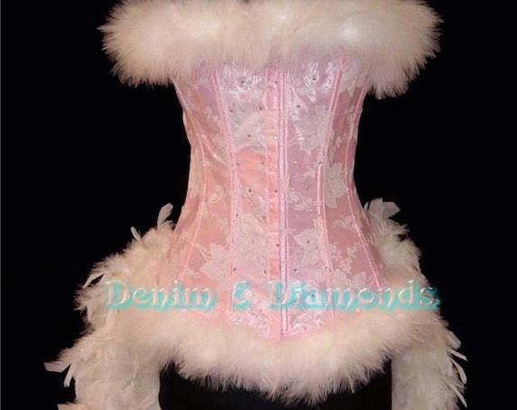 Size L-Pink Fairy Angel Burlesque Feather Costume