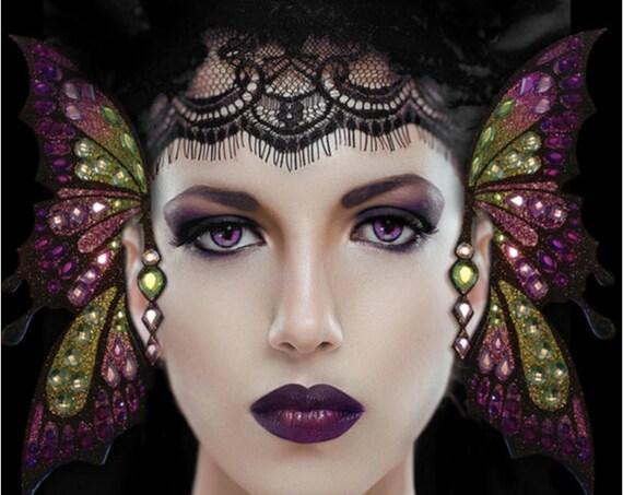 Exotic Eyes Purple Butterfly Fairy Glitter Crystal Earwings Ear Wings Cuffs Set