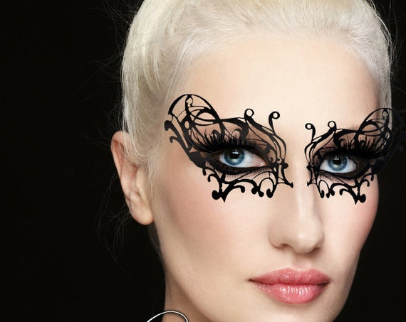 Xotic Eyes Black Widow Lace Eye Mask Costume Stick on Face Tattoo
