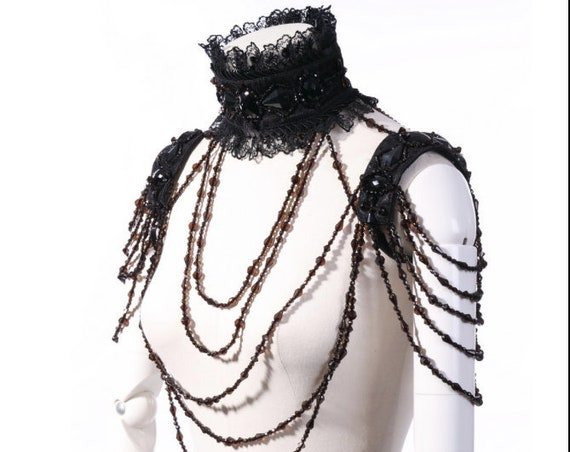 Black Gothic Victorian Lace Beaded Swag Body Choker Shoulder Necklace