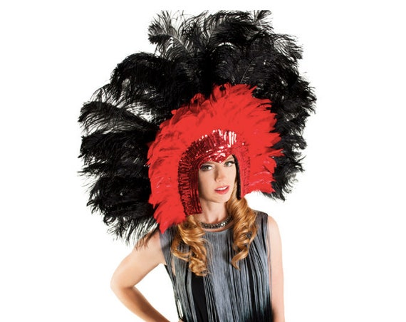 XL Deluxe Showgirl Ostrich Feather Sequin Headdress-Red/Black