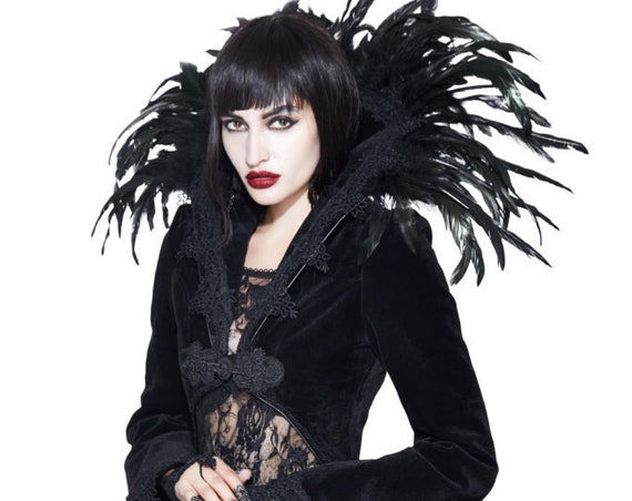 Black Gothic Velvet Long Jacket with Embroidered Detail and Feather Collar