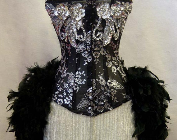 Size XS-Silver & Black Lace Showgirl Saloon Girl Moulin Burlesque Costume w/Feather Train