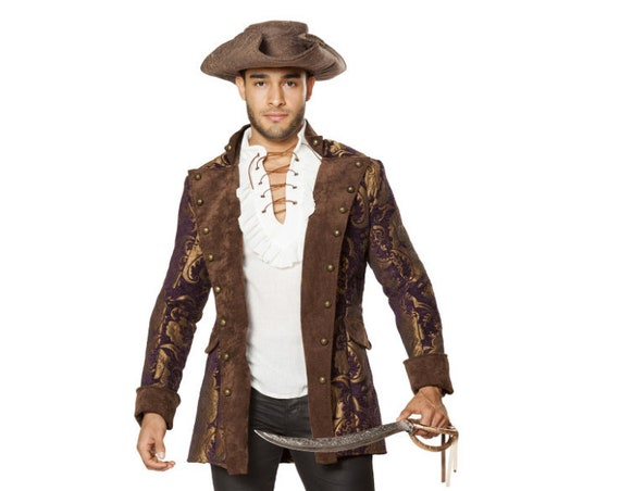 Roma Costume 4650 - Mens Pirate Brocade Jacket