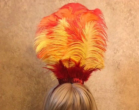 Fire Phoenix Sequin & 9 Plume Ostrich Feather Flame Headdress Headband Hair Accessory Saloon Showgirl Burlesque Bird Costume
