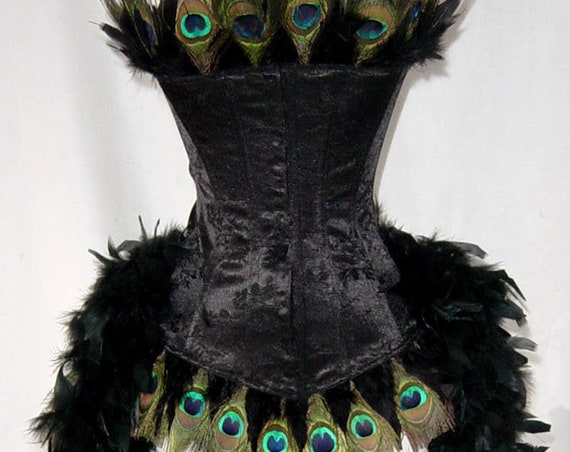 Pick Size-Black Peacock Eye Feather Brocade  Burlesque Costume w/Feather Train