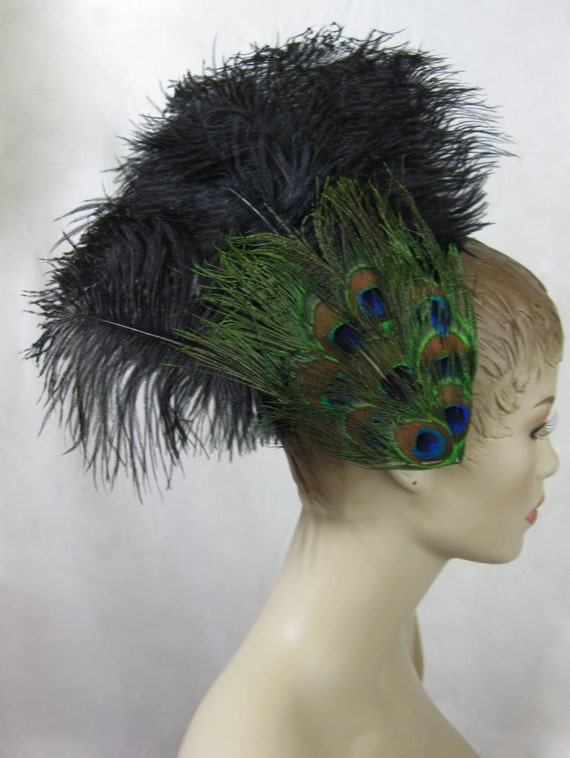 Custom Made Peacock Eye & Ostrich Feather Fascinator Headdress Hair Clip