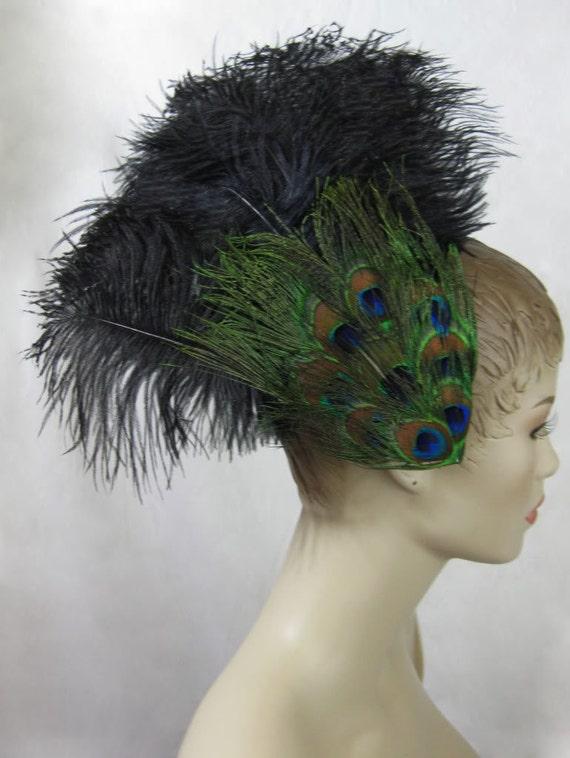 Custom Made Peacock Eye & Ostrich Feather Fascinator Headdress Hair Clip