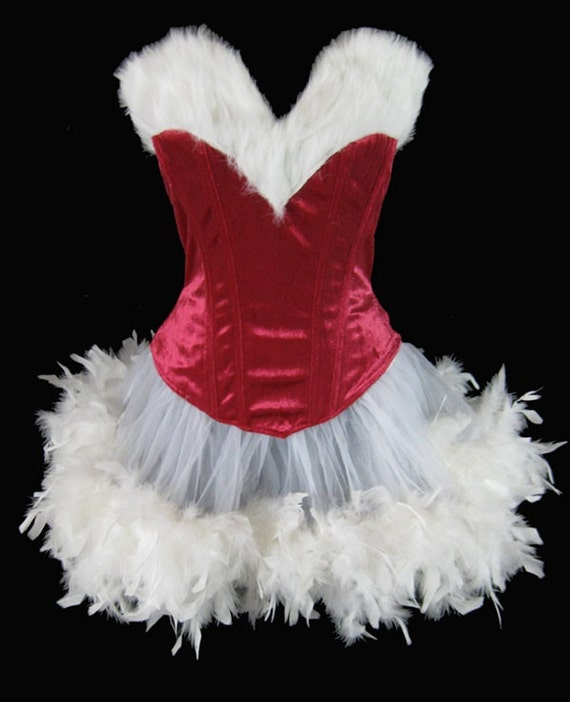 Ms Santa Clause Can Can Pin Up Christmas Holiday Costume Fur & Velvet Corset w/Feather Trim Skirt
