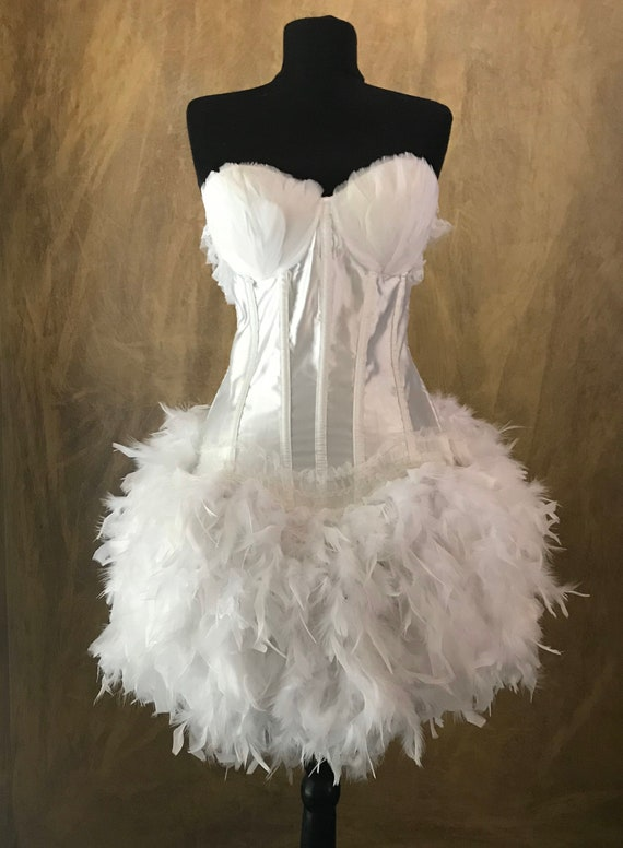 Pick Size-White Swan Full Skirt Burlesque Cabaret Pin Up Circus Carnival Feather Costume