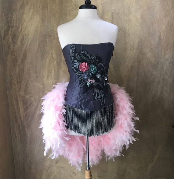 Steel Grey/Pink Floral crystal and beaded Burlesque Costume w/Feather Train