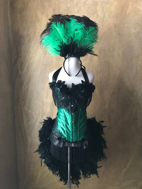 Emerald Green/Black Lace Lolita Showgirl Saloon Girl Moulin Burlesque Costume w/Feather Train Day