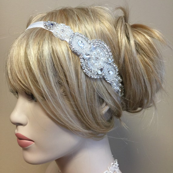 Faux Pearl and Crystal Stretch Headband Fascinator Hair Accessory White Bridal Wedding