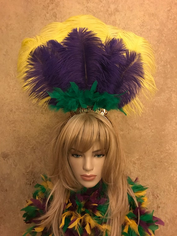 2 Layer Ostrich Feather Mardi Gras Headdress Headband Hair Accessory Saloon Circus Showgirl Burlesque Costume