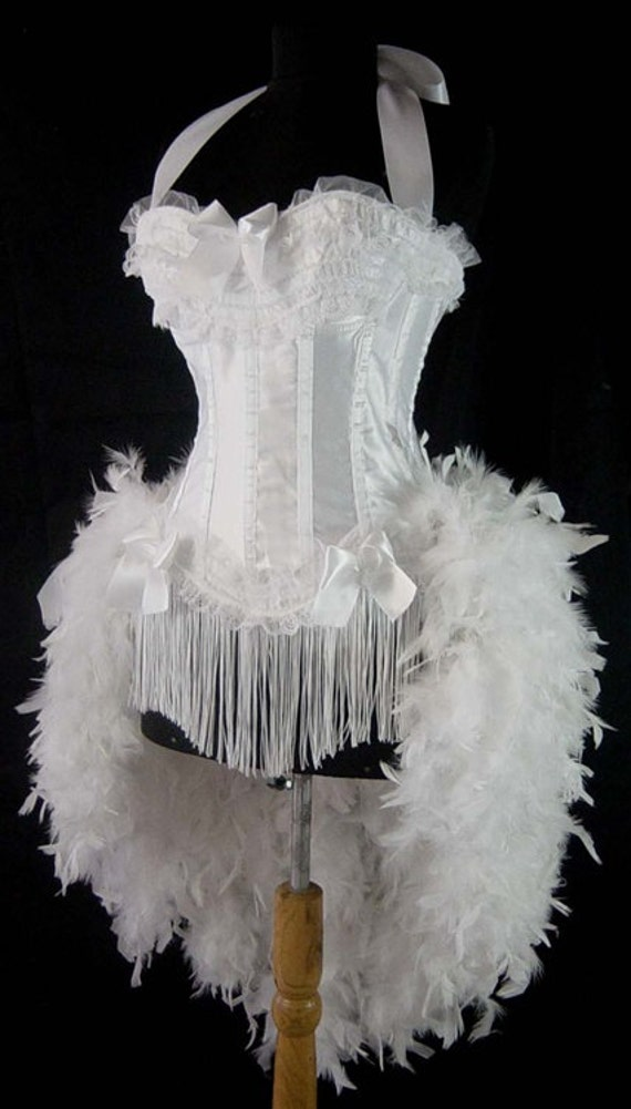 Size XL-White Moulin Burlesque Carnival Mardi Gras Bridal Vegas Wedding Dress Costume Feather