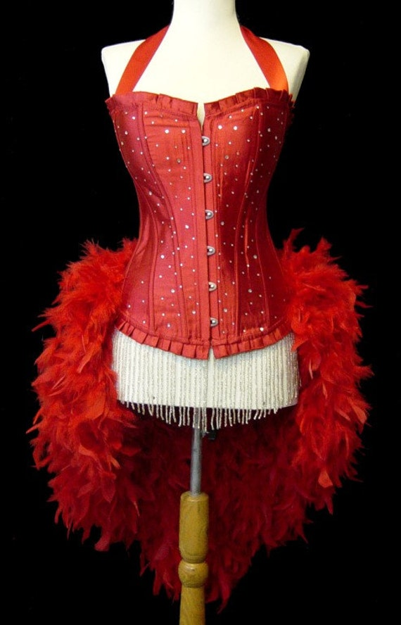 Large-READY TO SHIP-Red Scattered Crystal Pin Up Showgirl Saloon Girl Can Can Moulin Burlesque Costume w/Feather Train