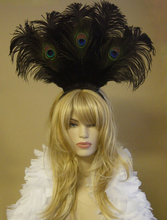 Choose color-Large Peacock & Ostrich Feather Headdress Headband Hair Accessory Saloon Showgirl Burlesque Costume