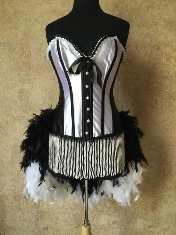 Size L or XL-Beaded Faux Pearl French Maid Caberet Burlesque Vegas Feather Costume