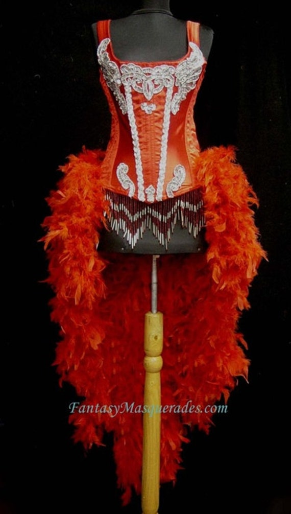 Pick Size-Brocade Feature Entertainer Theater Showgirl Costume Moulin Burlesque Feather