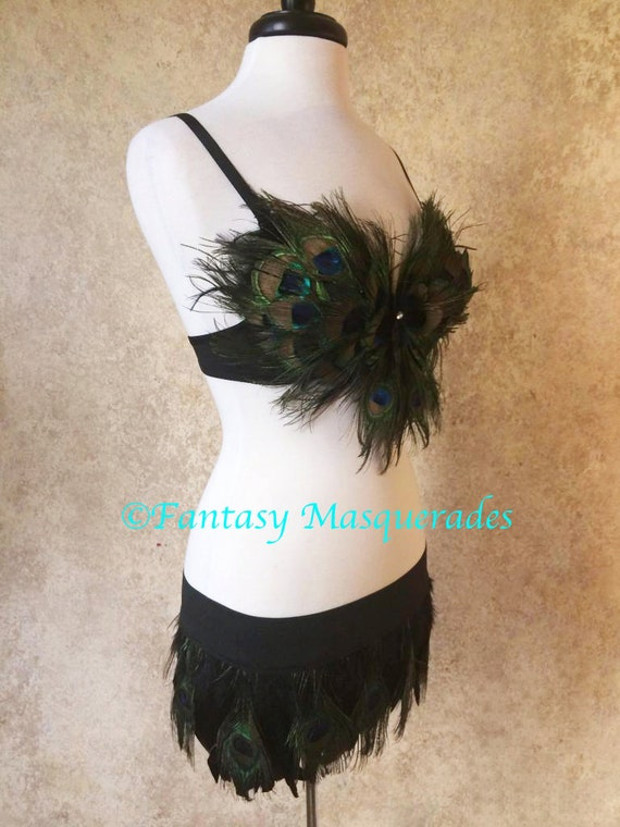 Pick Size-Peacock Eye Feather Top & Skirt Set Moulin Burlesque Pin Up Showgirl Rave Costume Belly Dance