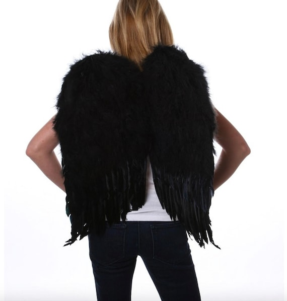 "23.55 x 22"" Large Real Feather Angel Wings-White or Black"