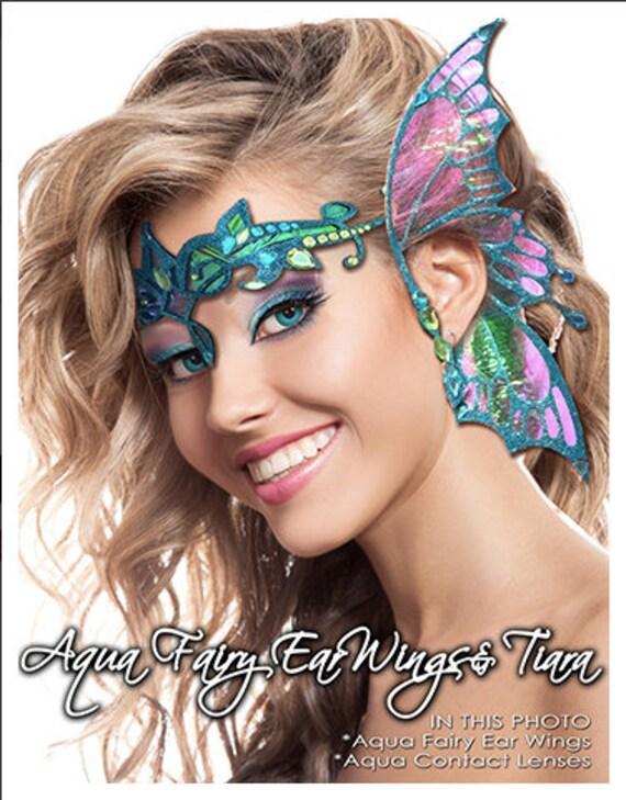 Xotic Eyes Aqua Wings Ear Wing & Tiara Fairy Costume Glitter Crystal