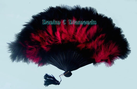 Red and Black Marabou Feather Hand Fan 11 x 20