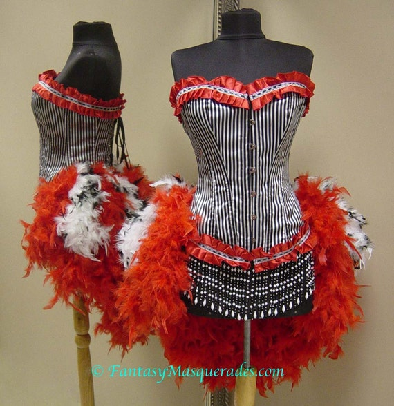 Size SMALL-Pin Up Carnival Moulin Burlesque Carnival Circus Pin Up Costume Feather