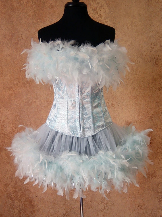 Pick Size-Ice Queen Fairy Can Can Pin Up Carnival Costume Corset & Feather Trim Skirt