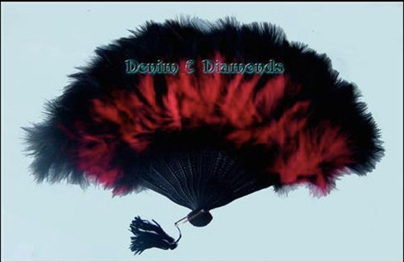 11x20 Red/Black Marabou Feather Hand Fan