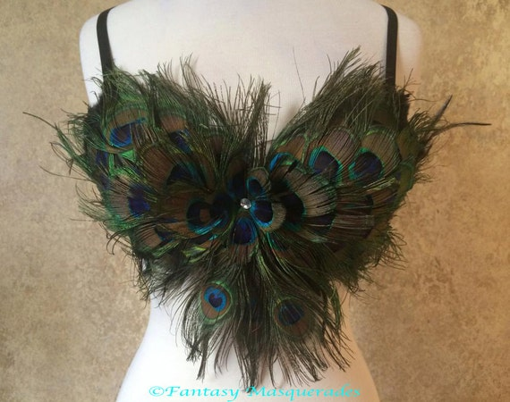 Pick Size-Peacock Eye Feather Bra Top Moulin Burlesque Costume Belly Dance Theater Showgirl