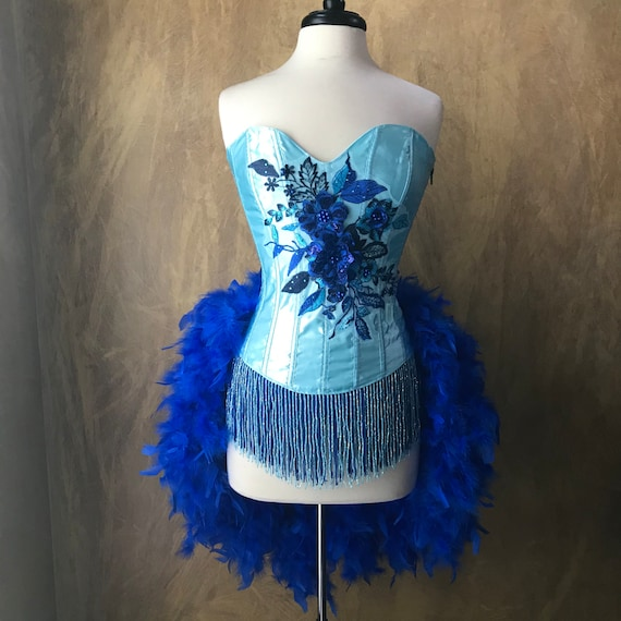 Ice Blue Floral crystal and beaded Burlesque Costume w/Feather Train